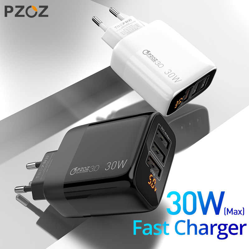 PZOZ USB Charger 30W Fast Charging 18W Quick Charge 3.0จอแสดงผลLED EUอะแดปเตอร์ผนังสำหรับIphone 11 samsung A50 Xiaomi Redmi Note8