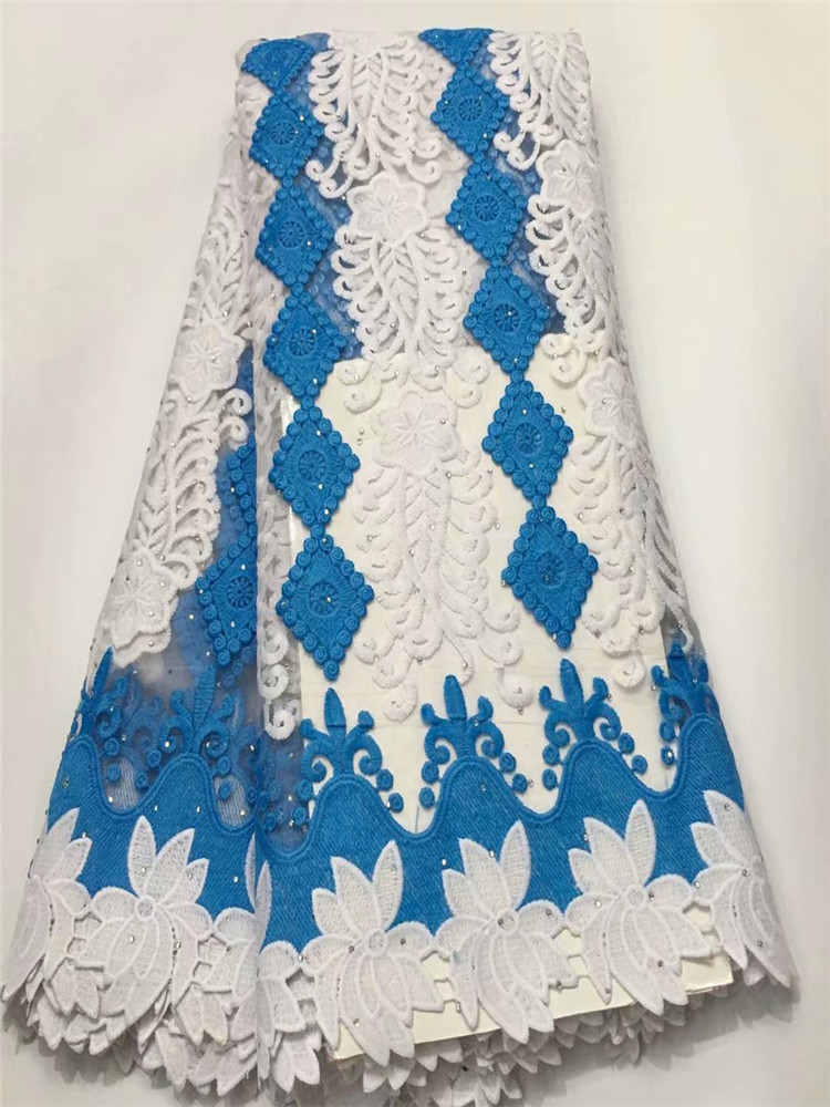 Latest African Lace Embroidery French Tulle Lace Fabric With Stones High Quality Net Lace Fabric E1-1666