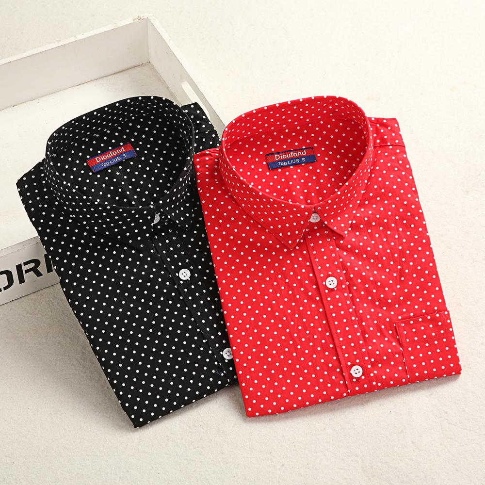 Dioufond Cotton Shirt Work Wear Women Lady Blouse Office 2020 Spring Autumn Plus Size Top Polka Dot Long Sleeve Female Clothing