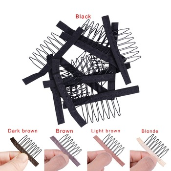 5 Colors lace Wig clips Steel tooth Polyester durable cloth wig combs for making tools Accessories 10pcs/lot - discount item  2% OFF Hair Tools & Accessories