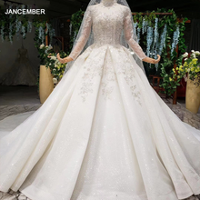 Htl1000 mangas compridas alta pescoço vestidos de casamento para mulher pérola lantejoulas apliques vestidos de luxo princesa 2020