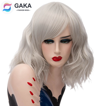 GAKA Short Wig Grey White Natural Wavy Cosplay Red Wig with Side Bang for Women 12 Colors Party Costume Natural Synthetic Hair sayosamonji inclined bang fluffy natural straight gorgeous blue short cosplay wig with bunches
