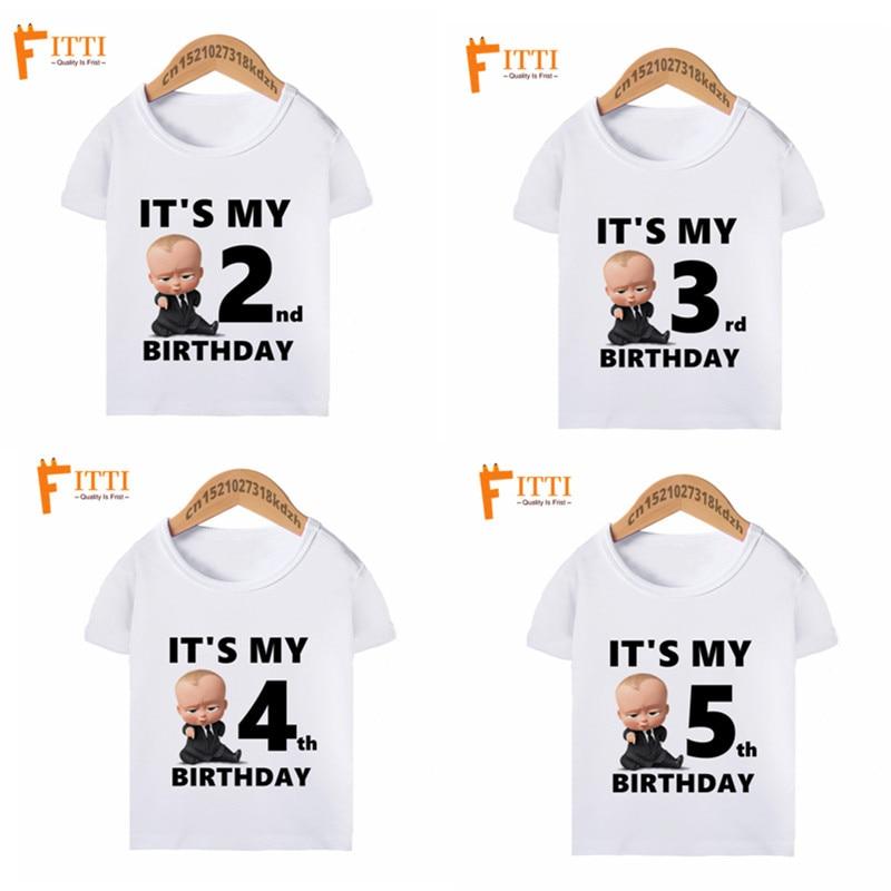 Camiseta boss infantil, camiseta de 1-10 anos para crianças