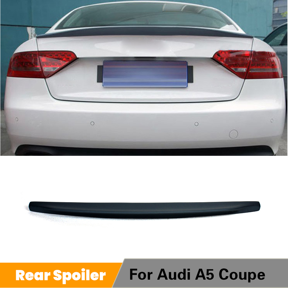 For Audi A5 Coupe 2Door Standard 2009 - 2015 Rear Trunk Boot Spoiler Lip Rear Wing PU Grey / Black