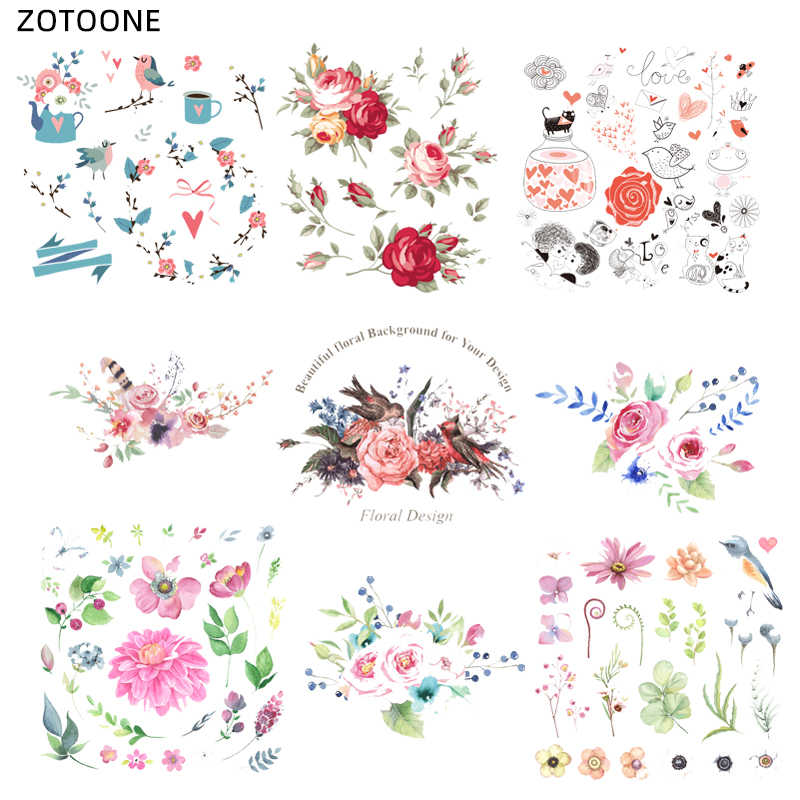 ZOTOONE Flower Patch Cute Animal Stickers Iron on Print on Transfers for Clothes T-shirt Accessory Applique DIY Heat Transfer G