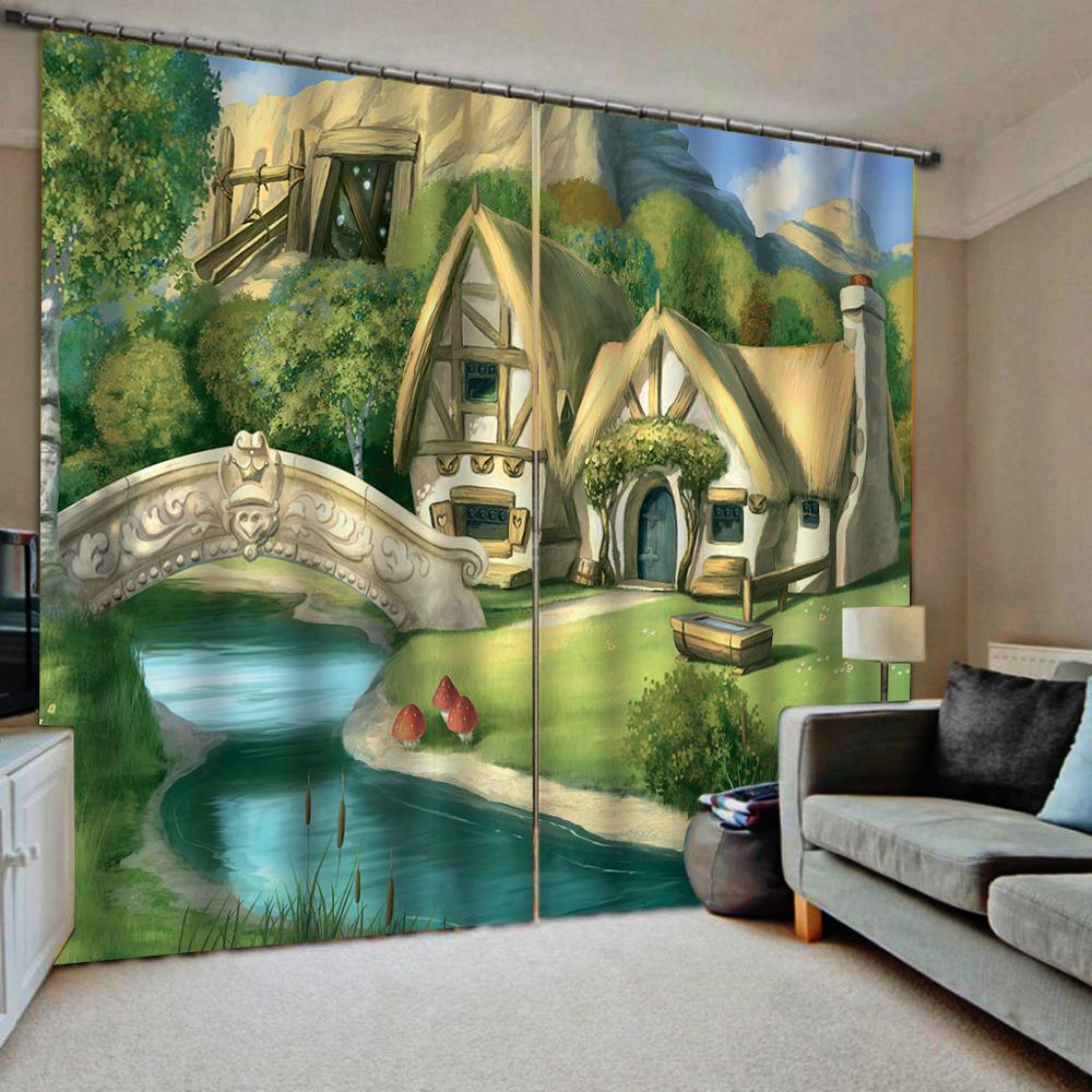 Cartoon curtains house  3D Blackout Curtains Living Room Bedroom Hotel Window curtain