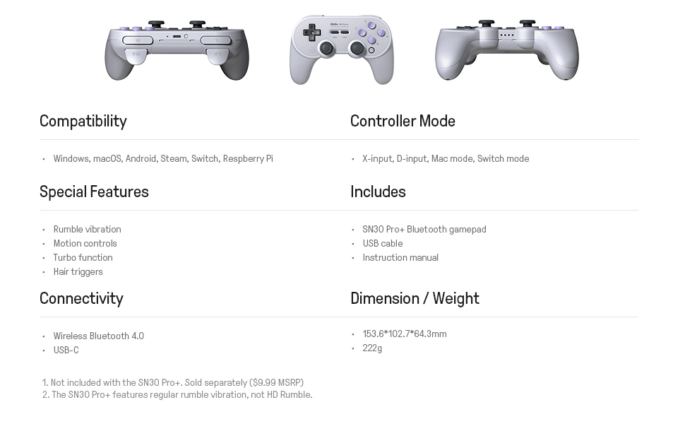 SN30 pro plus Official 8BitDo SN30 PRO+ Bluetooth Gamepad Controller with Joystick for Windows Android macOS Nintendo Switch 21