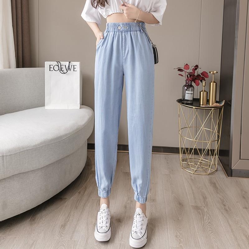 Comfortable Fabric Summer Thin Thin Loose Little Daisy Capri Harem Pants Women Beam Foot Tencel Cowboy Casual Pants Fashion
