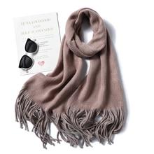 2019 New winter cashmere scarves for women fashion knit thick warm shawls and wraps lady pashmina long size bandana foulard