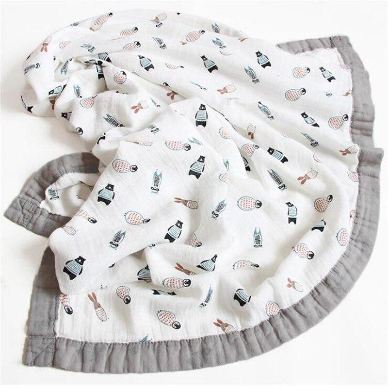 120*110cm 6 Layers Bamboo Baby Muslin Blanket Newborn Swaddles Soft Blankets Bath Gauze Infant Wrap Sleepsack Multi-use Diaper