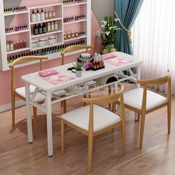 100cm Nordic Folden Nail Tafels Duurzaam Stalen Frame Enkele Vouwen Roze Manicure Bureau met Grenen spaanplaat Salon Meubels