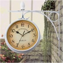 Honhill – horloge murale de Station, Double face, ronde, Vintage, classique, rétro, décoration pour la maison, cadeau, noir, blanc