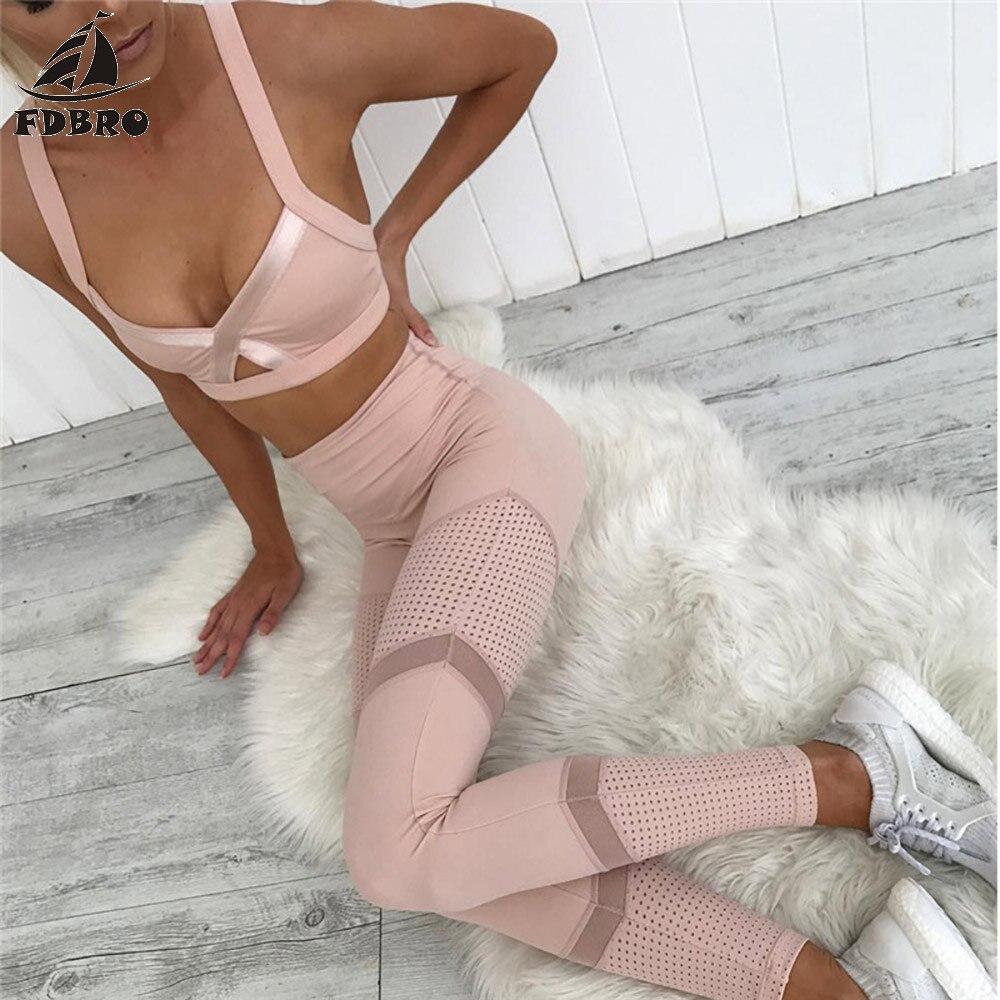 FDBRO New Slim Sportswear Gym Sports Bra Leggings Women Mesh Stitching Clothes Yoga Set Female Fitness Tracksuit Pants Sexy Tops