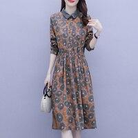 2021 frühling Neue Beiläufige Lange Party Sommer Herbst Kleid Elegante Lose Koreanische Mode Gedruckt Mid-Länge Temperament Kleid Vintage