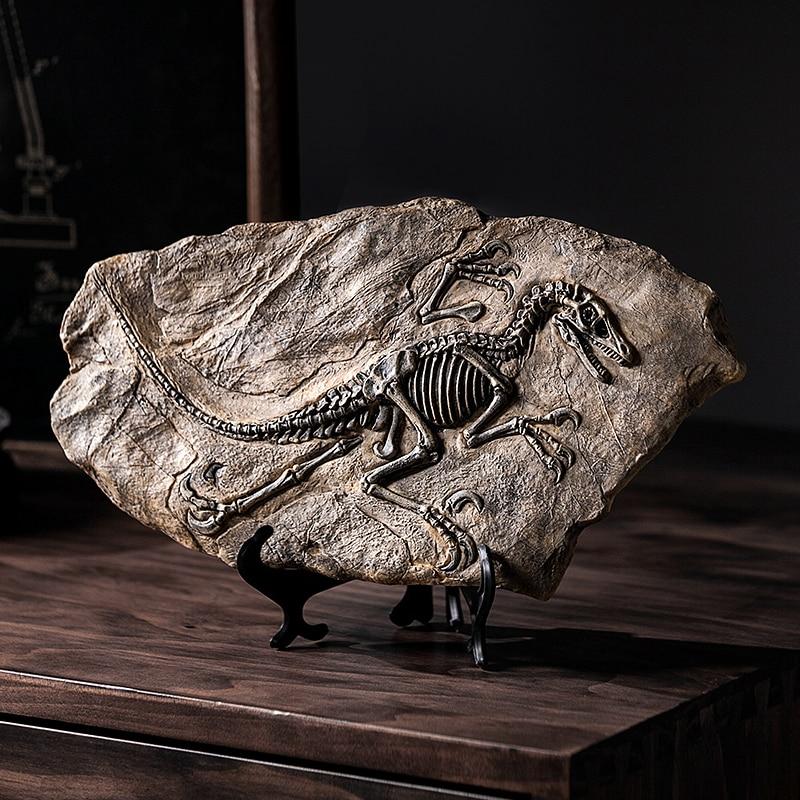 Dinosaur Skull Resin Fossil Figurines Desk Home Decoration Accessories Dinosaur Skull Sculpture Room Ornament Desk Decoration