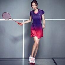אביב נשים שמלת טניס בדמינטון חליפת מהיר יבש דק בדמינטון שמלת ספורט בגדים עם קצר בטיחות מכנסיים