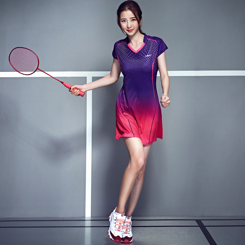 Spring Women Tennis Dress Badminton Suit Quick Dry Slim Badminton Dress Sport Clothing With Short Safety Pants