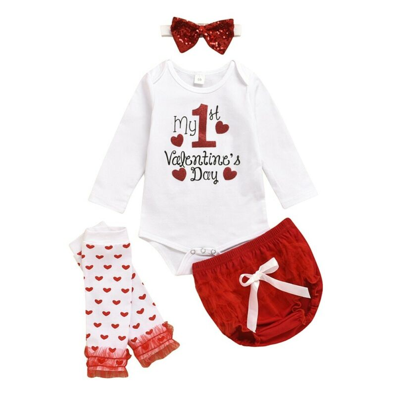 Одежда для маленьких девочек 0-18 месяцев с надписью «My First Valentine's Day»; комплект одежды для новорожденных и маленьких девочек; комбинезон и шор...