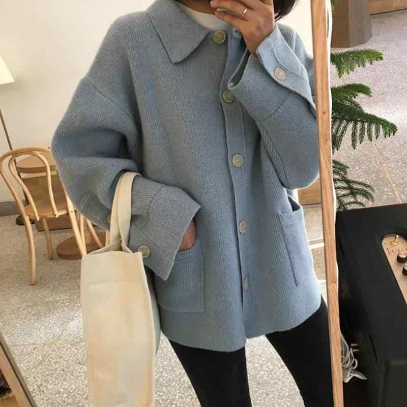 2019 корейский женский Ретро Стильный вязаный кардиган с карманами пальто размера