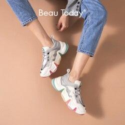 BeauToday/радужные массивные кроссовки; женская повседневная обувь из натуральной коровьей кожи с круглым носком на шнуровке; смешанные цвета; ...