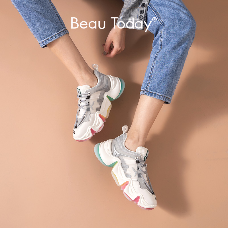 BeauToday Rainbow Chunky Sneakers Women Genuine Cow Leather Round Toe Lace-Up Mixed Colors Lady Casual Shoes Handmade 29360