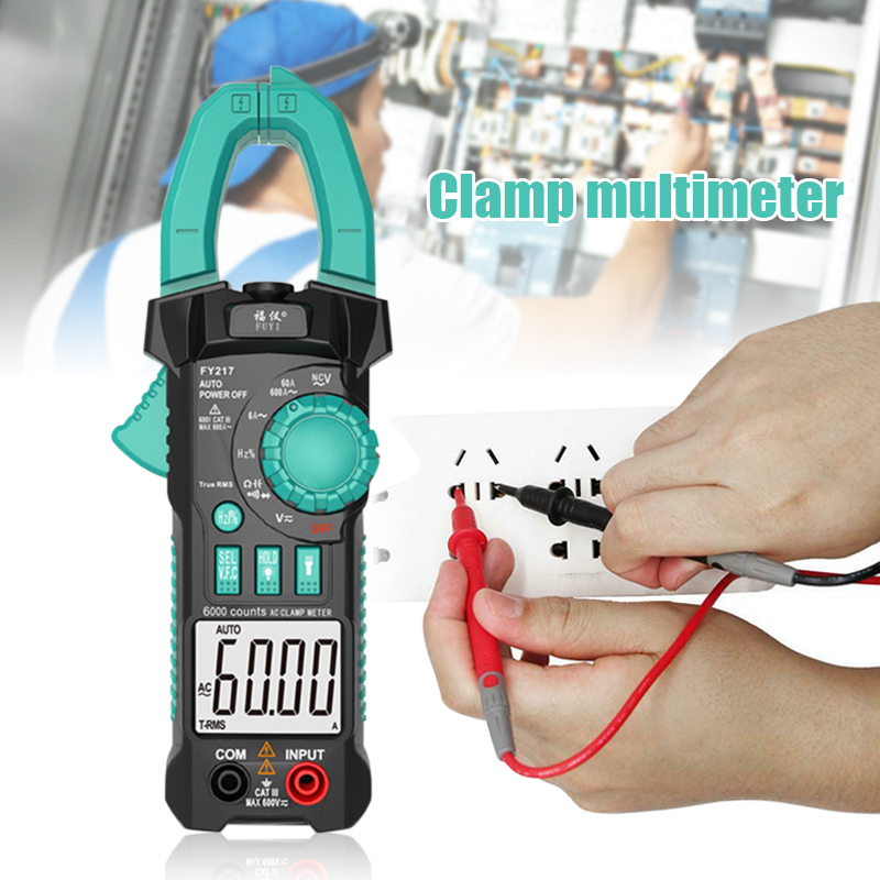 FY217 Multimeter Digital Clamp Meter True RMS AC DC Auto Range Measurement Clamp Testers Meter FKU66