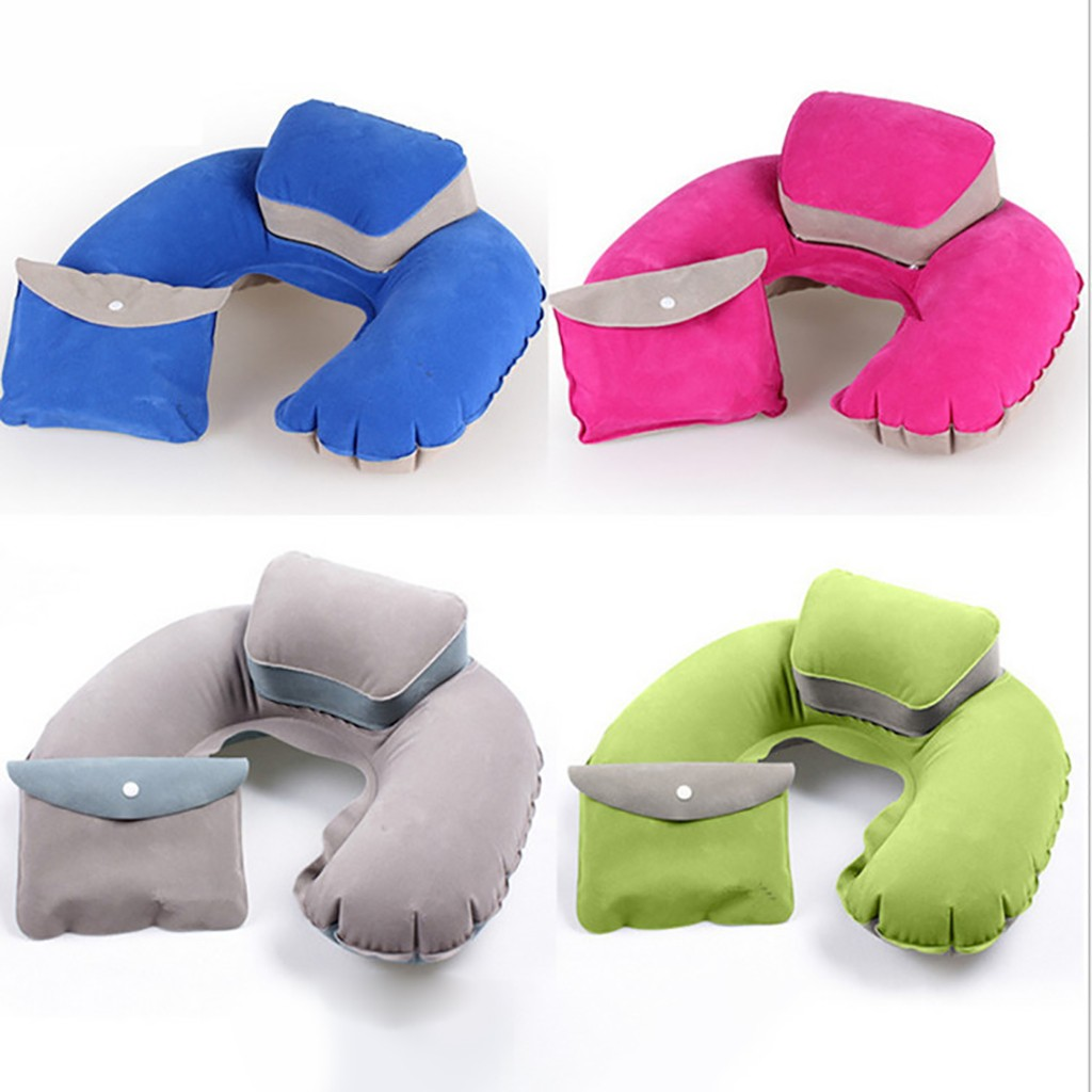 Camping Mat For Outdoor Travel U-shaped Inflatable Pillow Travel Air Cushion Beach Car Head Rest Support Office Nap PillowNPY3