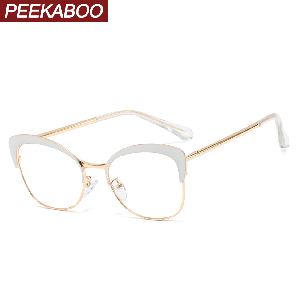 Peekaboo White Female Glasses Frames Cat Eye Metal Retro Eyeglass Frames For Women Prescription Accessorries Clear Lens Pink Red