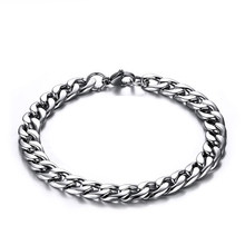 chain on hand for Wholesale stainless steel men bracelet 2019 cuban link bracelet men punk accessories for the best friend chain(China)