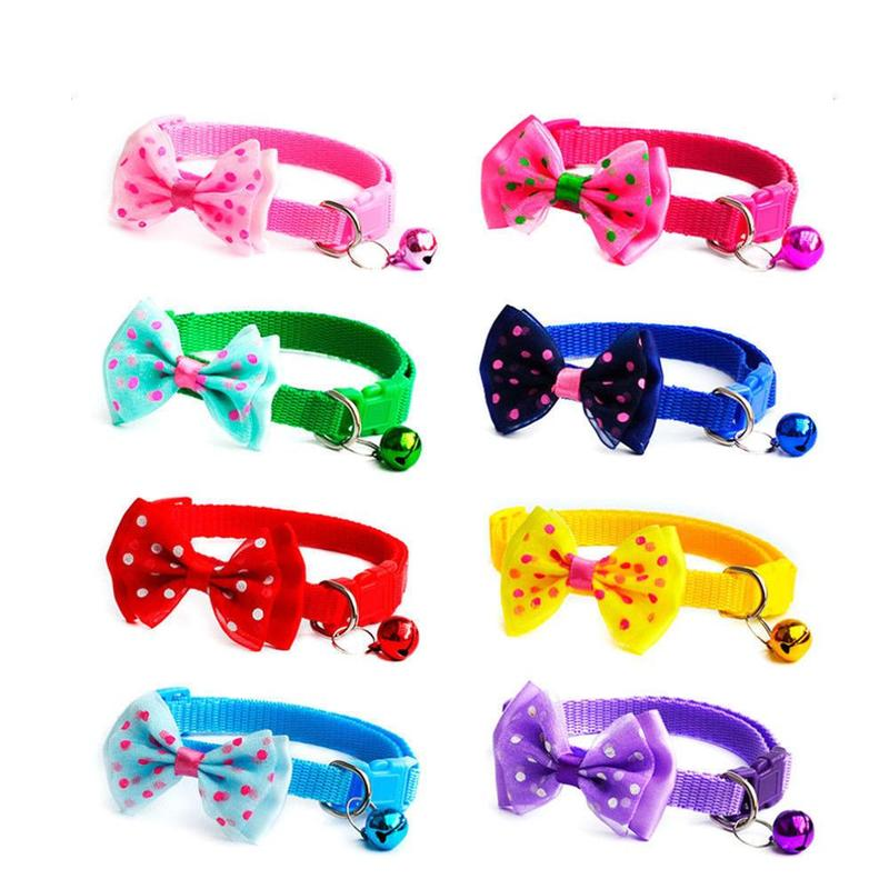 Misterolina Multicolor Bowknot Collar For Small Medium Dogs Bow Tie Bell Adjustable Puppy Kitten Necktie Pet Products Decoration