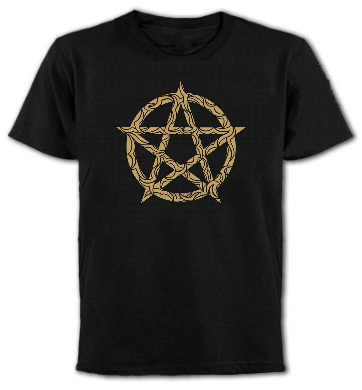 New Summer Style Fashion Short Sleeve Pentagrama T-Shirt - Gothic Rock Punk Emo Magical Pagan Wicca T Shirt Design(China)