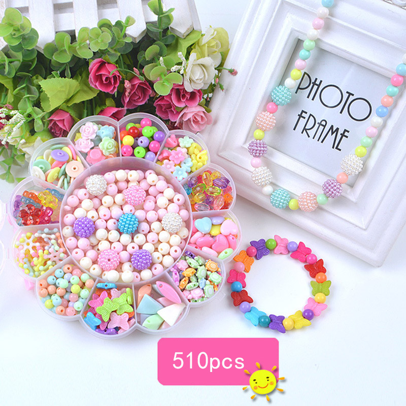 Children Bracelets For Girls Diy Toys For Children Handmade Bracelet Necklace Girl Handmade Beading Interactive Toys For Kids