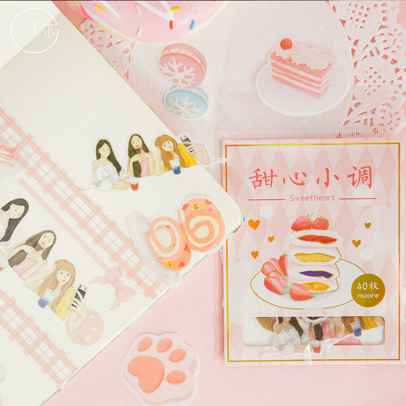 1set/1lot Kawaii Stationery Stickers Gentle Food Decorative Mobile Stickers Scrapbooking DIY Craft Stickers
