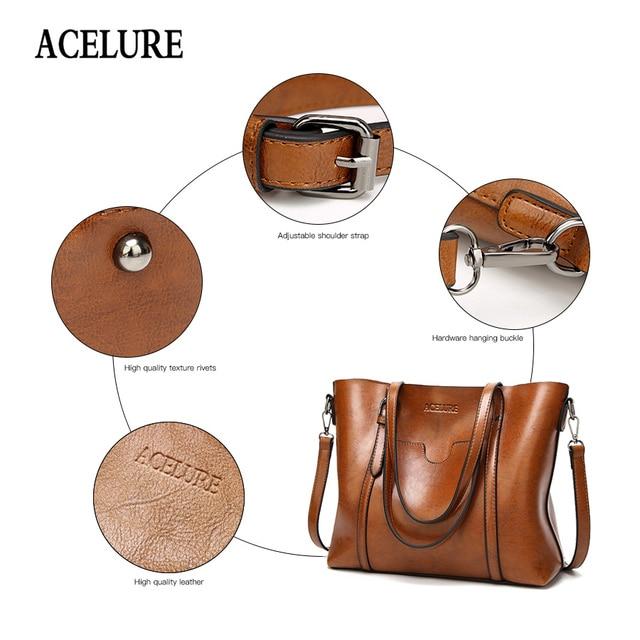 ACELURE Women bag Oil wax Women's Leather Handbags Luxury Lady Hand Bags With Purse Pocket Women messenger bag Big Tote Sac Bols 5