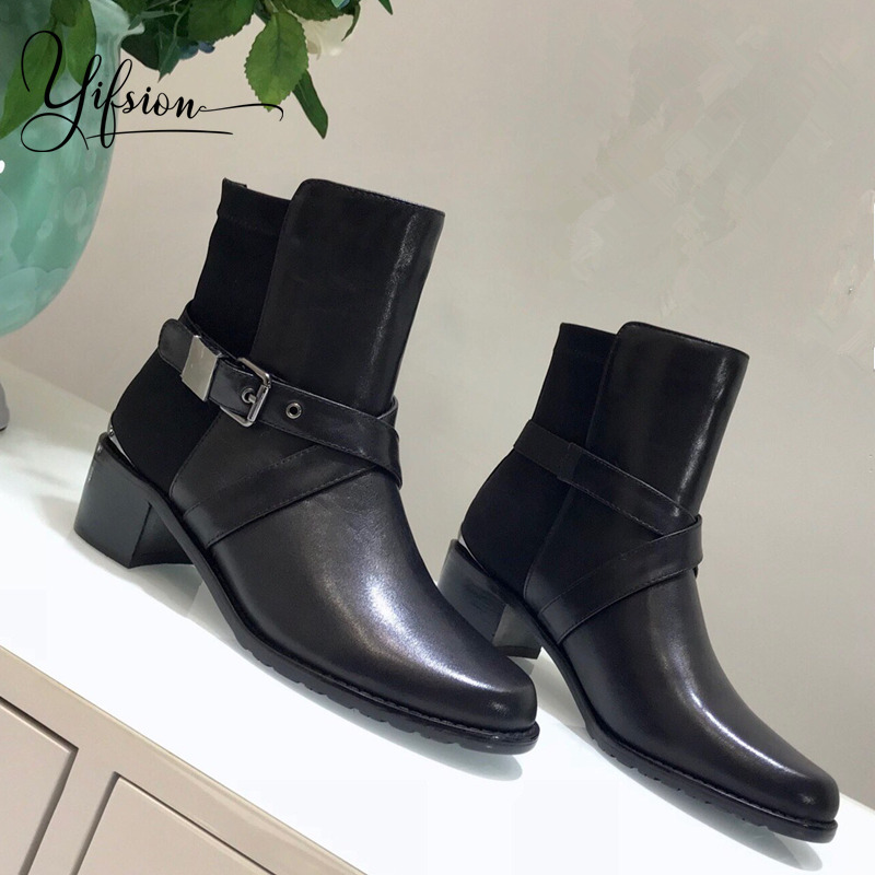 Olome New Black Genuine Leather Women Boots Round Toe Buckle Strap Thunky Mid Heel Women Autumn Winter Ankle Boots Shoes Woman Aliexpress Com Imall Com