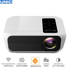 UNIC T8 Home Theater 8000 Lumens 1080P Native Resolution Full HD 200'' Projector 4K HDMI WIFI Android 10(2+16G) Proyector