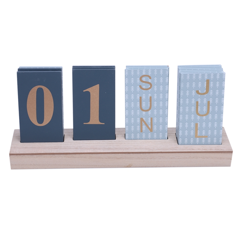 Office Wooden Calendar Retro Family Calendar Cafe Table Decoration Antique Jewelry Ornaments