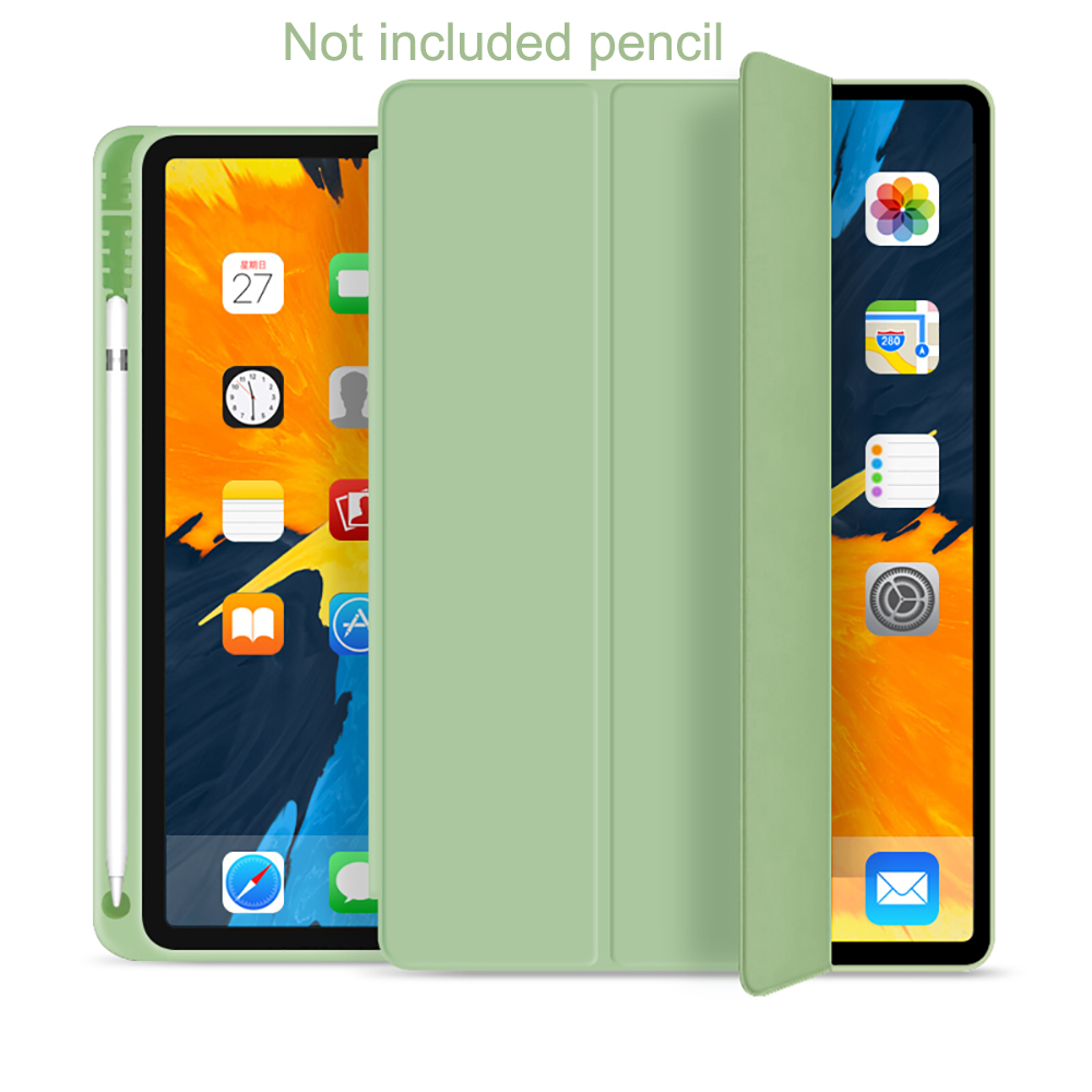 Light Green White Protective Tablet Case For iPad Pro 11 Case 2020 with Pencil Holder Shockproof Stand Back Shell