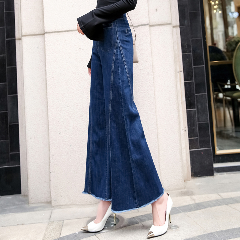 Jeans Women's 2019 Spring Slimming Flash Pocket Glorious Large Size Loose-Fit Trumpet Loose Pants