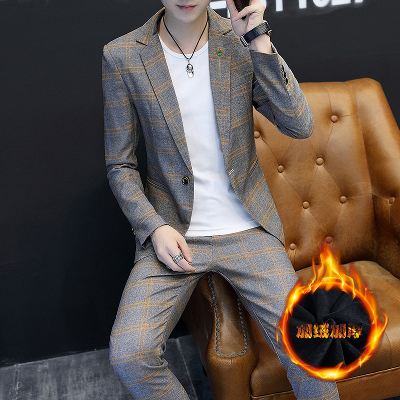 2019 Winter New Style Handsome Youth Brushed And Thick Suit Slim Fit Men's Casual Suit Plaid