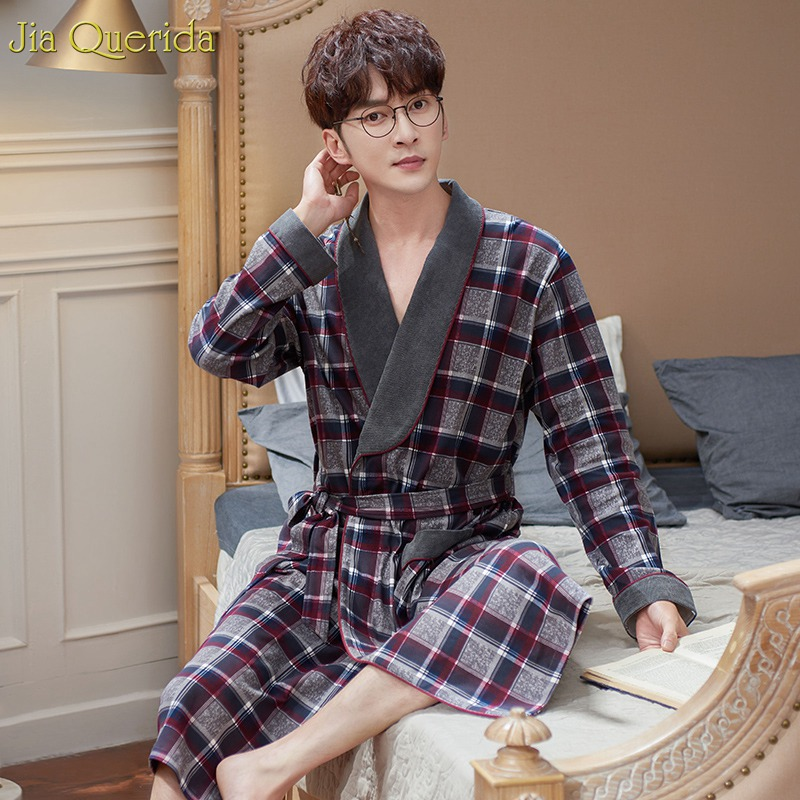 Men Robe 100% Cotton Kimono Luxury Black Plaid Long Sleeve Nightgown High Quality Plus Size Bathrobe Laple Belted Sleepwear Robe