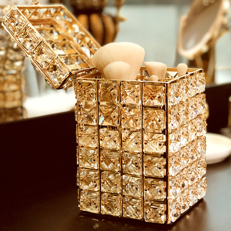 Crystal Makeup Brush Storage Box Home Decor Jewelry Organize Holder Container With Cover