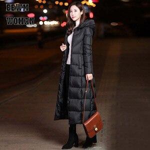 Image 4 - 黒の冬のジャケット女性ロング厚く暖かいパーカーコートの女性のファッションスリムパーカー綿パッド入り ZO854
