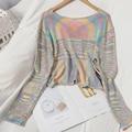 Regenbogen Streifen Pullover Stricken Cropped Kurze Tops V-ausschnitt Langarm Herbst Japan Koreanische Süße Pullover Weibliche GX1164