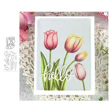 Tulip Flowers Metal Cutting Dies and Clear Stamps for DIY Scrapbooking Card Dies Cut Stencils Paper Crafts Photo Album Decor beautiful flowers metal cutting dies and clear stamps for diy scrapbooking card new dies cut stencils paper crafts photo album