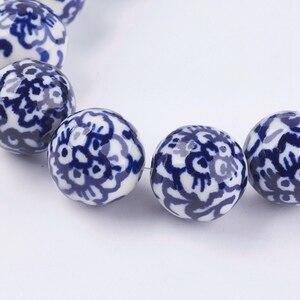 Image 3 - Pandahall 20 pièces 12/18mm fait à la main bleu et blanc porcelaine perles en céramique pour la fabrication de bijoux bricolage
