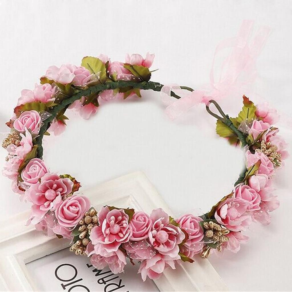 Женский свадебный цветной цветочный венок, венок для волос с ореолом, свадебный головной убор для вечеринки, подружки невесты