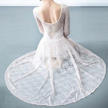 ballet dress leotard dance skirt lace long ballerina dancewear clothes women