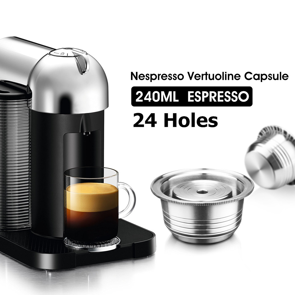 Refillable Coffee Capsule Pod For Nespresso Vertuo Vertuoline Gca1 Delonghi Env135 Stainless Steel Filters Tamper Spoon