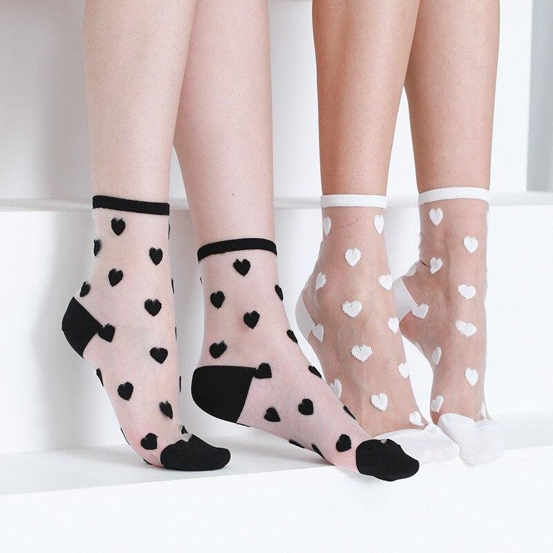 Women Socks 2020 New Fashion Long Transparent Cute Heart Thin Socks Female Summer Casual Sweet Funny Socks Women Korean Style